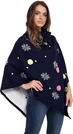 Saute Styles Ladies Womens Novelty Winter Retro Knitted Christmas Vintage Cape Jumpers Poncho