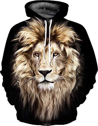 Ocean Plus Mens 3D Funny Hoodie Long Sleeve Multicolor Unisex Hoodie Streetwear Sporty Sweatshirt with Drawstring (XXL/3XL (Chest: 126-146CM), Mane Lion)