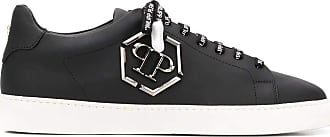 Philipp Plein Black Leather Sneakers with Metal Logo Black Size: 7 UK