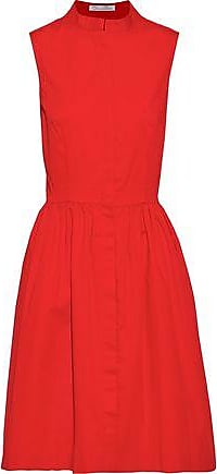 Oscar De La Renta Oscar De La Renta Woman Gathered Stretch-cotton Twill Dress Red Size 10