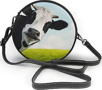 Turfed Cute Cow Print Fashion Round PU Crossbody Handbag Round Shoulder Bag For Women Girls