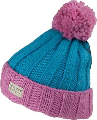 KuSan Ribbed Turn Up Bobble Hat - Pink-Blue 1-Size
