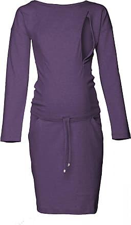 Happy Mama Womens Maternity Nursing Sweatshirt Dress Long Sleeve Pockets. 709p (Purple Melange, UK 16, XL)