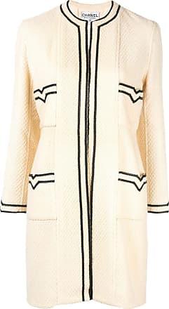 Chanel CC Logos Long Sleeve Coat - White