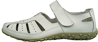 Cushion-Walk Womens Leather Upper, Velco Fastening Loafer Flats in White - Jess (7 UK)