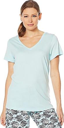 Hue V-Neck Aruba Blue Striped Pajama T-Shirt Large