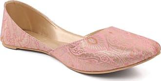 Unze Unze Women TALLIE Indian Khussa Pumps UK Size 3-8 - HF012 Pink