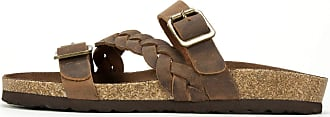 White Mountain Womens Huntington Leather Open Toe, Brown/Leather, Size 7.0 US/US