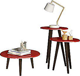 Manhattan Comfort Carmine Collection Mid Century Modern Accent Round End Tables With Splayed Legs, 3 Piece Set, Red/Wood