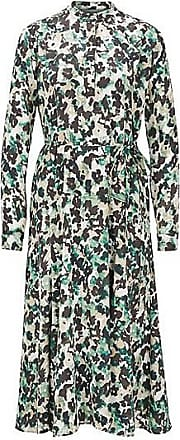 BOSS Long-sleeved dress in floral-print twill