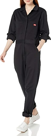 Dickies Womens LONG SLEEVE COTTON TWILL COVERALL Work Utility, Black, Large
