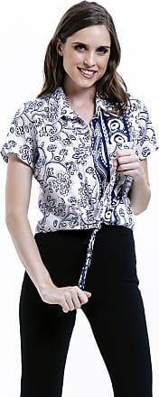101 Resort Wear Camisa 101 Resort Wear de Amarrar Tricoline Estampada Azul Branco