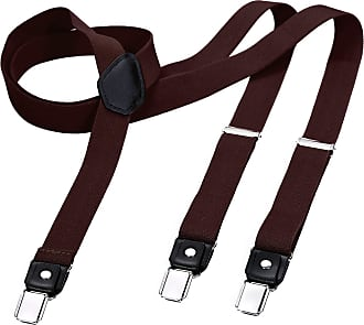 DonDon Mens Fashion Braces Suspenders 2,5 cm 1,0 Wide with 3 Clips in Y-Form Elasticated and Adjustable Length in - Brown