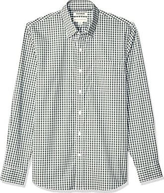 Goodthreads Mens Standard-Fit Long-Sleeve Stretch Poplin (All Hours), Green Gingham, X-Large