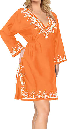La Leela Womens Solid Colour Beach Dress, Swimwear Swimsuit Fashion Rayon Bikini Cover Up Embroidered Blouse, One Size - Orange - X-Large
