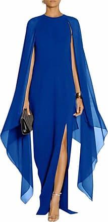 QIYUN.Z Women Elagant Bat Sleeve Long Chiffon Formal Gown Dress Long Prom Evening Dresses with Cape Royal Blue