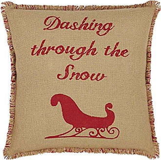 VHC Brands Christmas Holiday Pillows & Throws - Natural & Red Burlap Tan Sleigh 16 x 16 Pillow