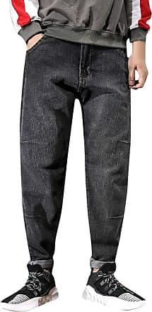 NPRADLA Mens Straight Fit Premium Denim Jeans Mens Stretch Denim Harem Pants Distressed Freyed Pocket Loose Jeans Trousers