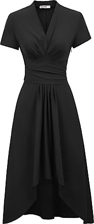 Grace Karin Women Vinatge Fancy Party Cocktail Dress Short Sleeve Summer A-line Pleated High Low Dress Black L