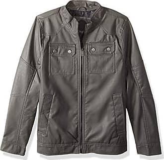 Urban Republic Mens Faux Leather Jacket, Dark Gray, XL