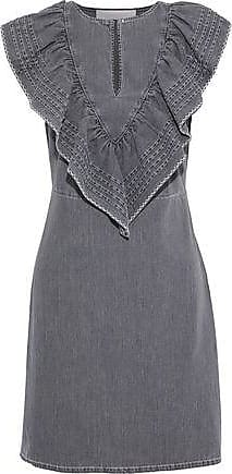 ac229fc40e35d See By Chloé See By Chloé Woman Ruffled Pintucked Denim Mini Dress Dark  Gray Size 34