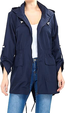 Love my Fashions Womens Plain Lightweight Showerproof Hooded Mac Ladies Waterproof Rain Jacket Long Sleeve Active Outdoor Zipped Raincoat Plus Size Navy Blue