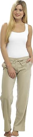 Tom Franks Ladies Women Full Length Linen Trousers with Elasticated Waist 18 Stone