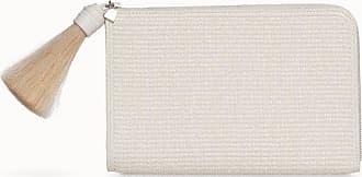 MQaccessories Zip Pouch Clutch Bag in Raffia fabric with cervocalf and Tassel
