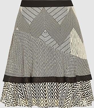 Reiss Fabio - Zig-zag Printed Mini Skirt in Black/neutral, Womens, Size 10
