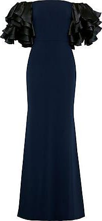 Badgley Mischka Badgley Mischka Woman Off-the-shoulder Ruffled Satin-paneled Cady Gown Navy Size 2