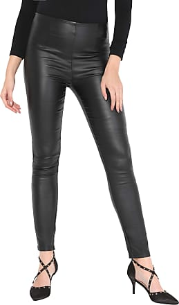 Krisp Women Ladies PVC Faux Leather Trousers Pull On Plus Pants (Black, 16), 4074-BLK-16