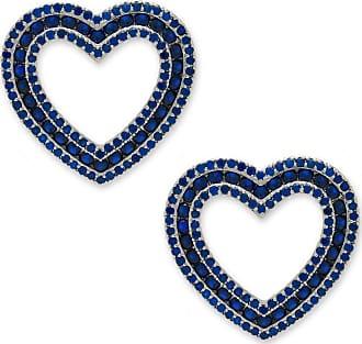 Renata Rancan Brinco Coração Cravejado com Zircônias - Azul Marinho - Ródio Branco