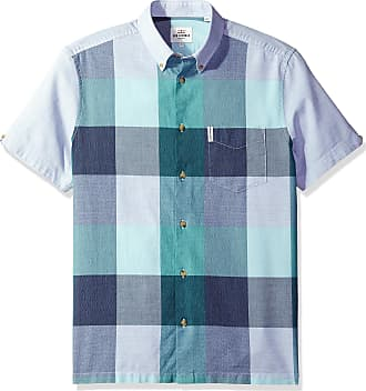 Ben Sherman mensMA13374Short Sleeve Front Panel Check Plaid Short Sleeve Button-Down Shirt - Gray - XL