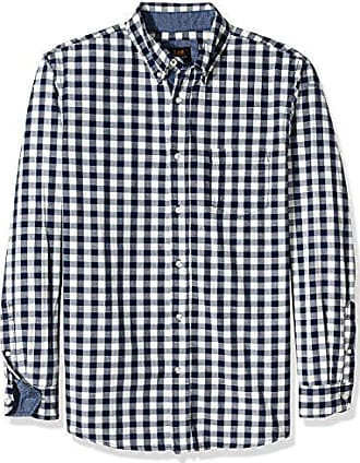 Lee Mens Ls Button Down Shirts, Navy, Large