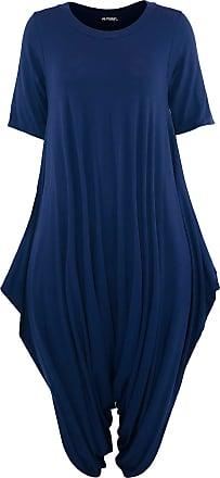 Be Jealous Oops Outlet Womens 3/4 Sleeve Baggy Harem Italian Jumpsuit (Plus Size (UK 20/22), Navy)