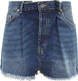 Raey Fold Raw-hem Denim Shorts - Womens - Dark Blue