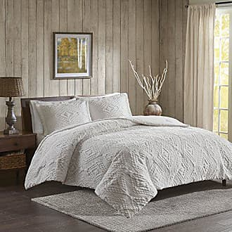 Woolrich Teton Full/Queen Size Quilt Bedding Set - Ivory, Embroidered - 3 Piece Bedding Quilt Coverlets - Ultra Soft Microfiber Bed Quilts Quilted Coverlet