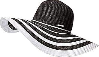 bd89121c Vince Camuto Womens Ribbon Stripe Floppy Hat, Black/White, One Size