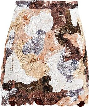 Ashish Patchwork-effect Sequinned Mini Skirt - Womens - Brown Multi