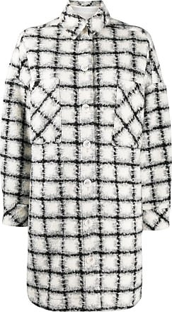 Iro check single-breasted coat - White