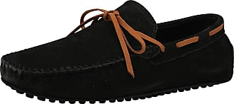 Jamron Mens Suede Leather Handmade Moccasins Comfortable Carpet Slippers Non-Slip Boat Shoes Casual Loafer Flats Black SN19077 UK12