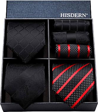 Hisdern Lot 3 PCS Classic Mens Classic Wedding Party Tie Set Necktie & Pocket Square - Multiple Sets