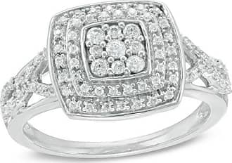 Zales 1/3 CT. T.w. Diamond Square Frame Engagement Ring in Sterling Silver