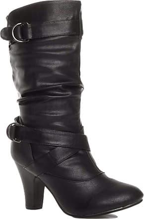 Truffle Sh12-25 Ladies Boots Mid Calf Black Cuban Heel Buckles[Ladies UK 5 / EU 38]