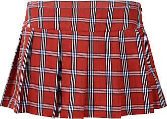 TiaoBug Womens Role Play Sexy Plaid Schoolgirl Cosplay Lingerie Sleepwear Micro Mini Pleated Skirt Red XX-Large