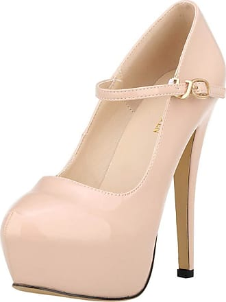 OCHENTA Womens Heels Round Toe Platform Ankle Strap Party Shoes Beige Tag 42-UK 7.5