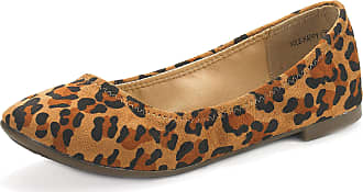 Dream Pairs Womens Slip On Round Toe Ballerina Ballet Flats Pumps Shoes Sole Happy Leopard Size 8.5 US/ 6.5 UK