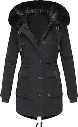 VITryst Womens Winter Coats Hooded Warm Faux Fur Lined Jacket Outwear Parka Anroak Long Coats,Black,XX-Small