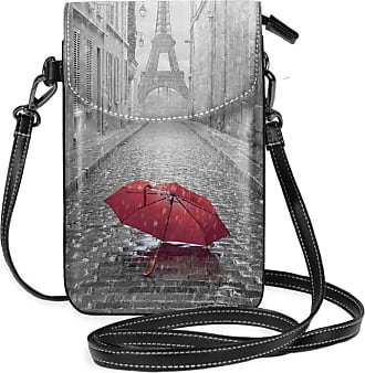 NA Small Cell Phone Purse For Women Leather Red Umbrella In Paris Insides Card Slots Crossbody Bags Wallet Shoulder Bag
