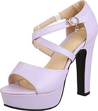 ecdedb1398ae3c UH Damen Knöchelriemchen Blockabsatz High Heels Plateau Sandalen mit  Schnalle und 15cm Absatz Elegante Schuhe